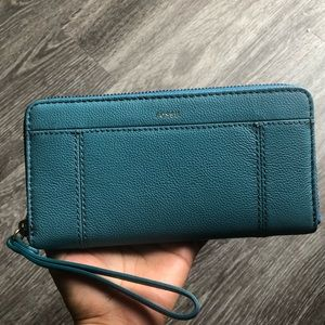 "Fossil Zip Clutch Wallet ""Caribbean Teal"""
